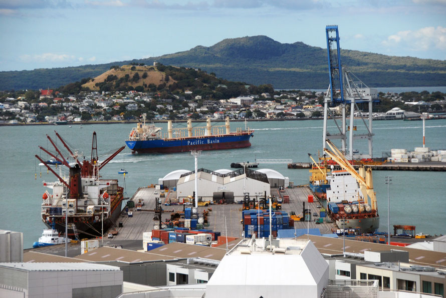 Ships coming and going all the time at the Auckland Container and bulk goods terminals.