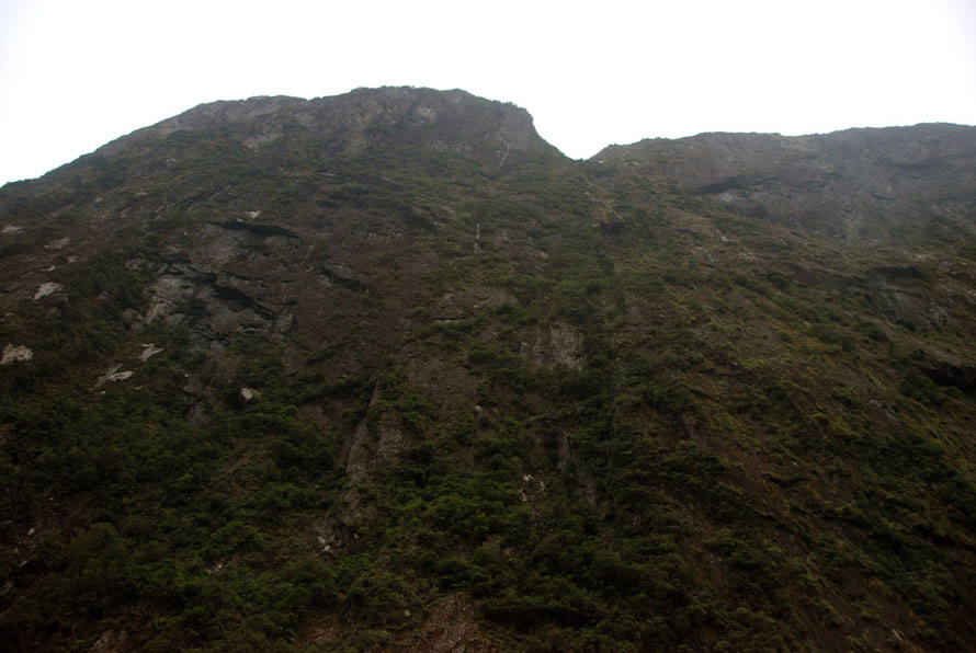 The 2,000 ft (600m) vertical cliff face of The Lion (1,302m) in Milford Sound.