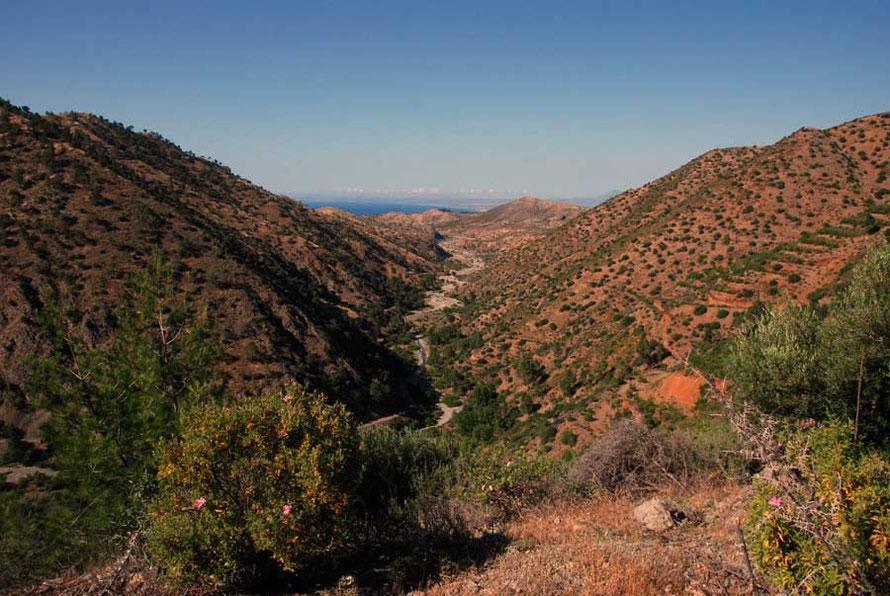 Diminishing winter rains: dry river bed Xeros Valley