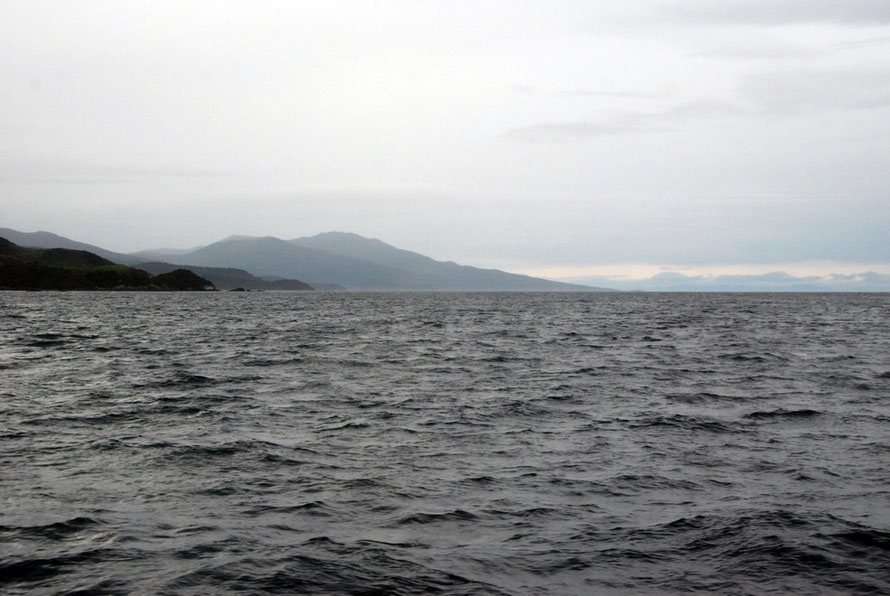 Saddle Point and Mt Anglem/Hananui (980m) on Stewart Island from the Foveaux Strait.