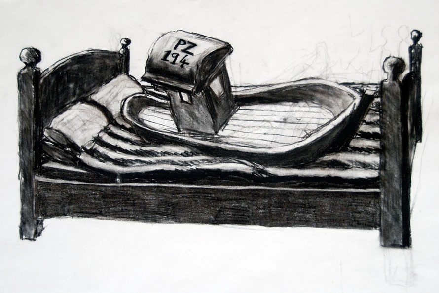 PZ 194 in bed (Charcoal, A1 size) Fergus Murray Drawing
