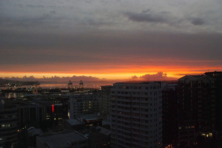 Sunrise over the Hauraki Gulf and the Auckland container terminal from our hotel window.