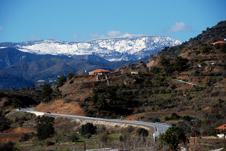 Driving beyond Kalo Chorio towards Zoopigi it got colder and the snow on the High Troodos closer, January 2013