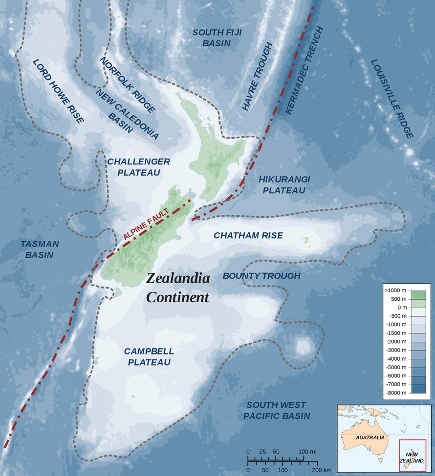 Map showing New Zealand Alpine Fault in wider context of  Zealandia continent (Wiki Commons Alexander Karnstedt)