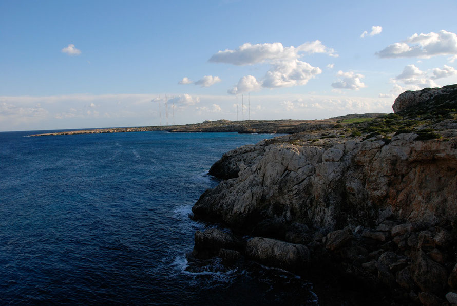 Looking to Cape Greko with its British military installation, Radio Monte Carlo International relay station and lighthouse