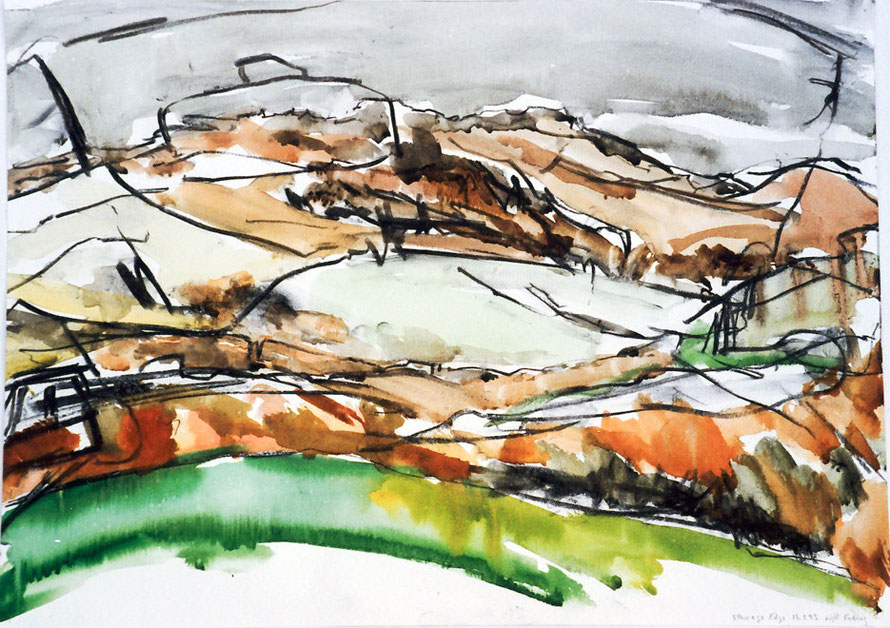 Stanage Edge, Peak District National Park, 1985 (Charcoal and Watercolour) Fergus Murray