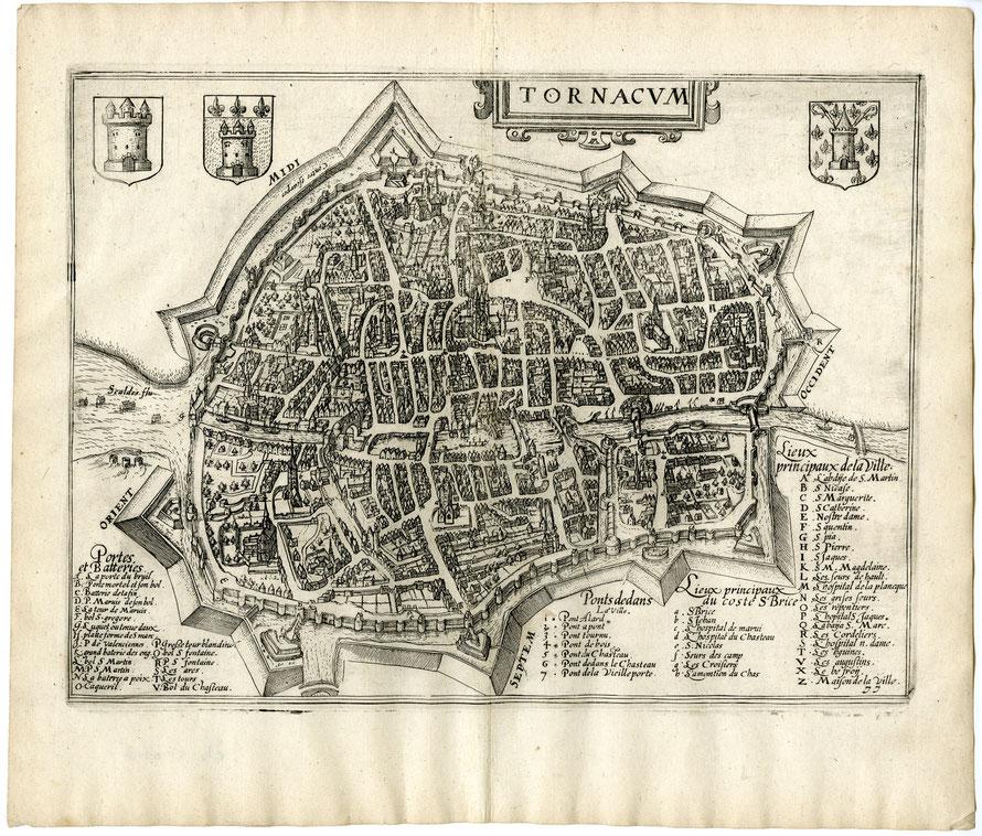 Anoniem (1613). Tornacum (Doornik/Tournai). Uit: 'Discrittione di tutti i Paesi Bassi' van L. Guicciardini. Amsterdam: J. Blaeu.