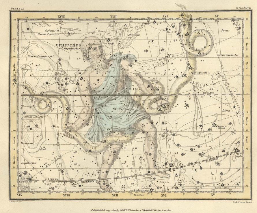SLANGENDRAGER - Alexander Jamieson (1822). Celestial Altas Plate 9. United States Naval Observatory Library. Public Domain.