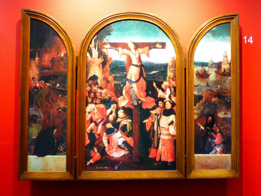 Drieluik van de gekruisigde martelares - Wilgefortis of Heilige Julia  van Corsica - Den Bosch 2016: Tentoonstelling Jheronimus Bosch