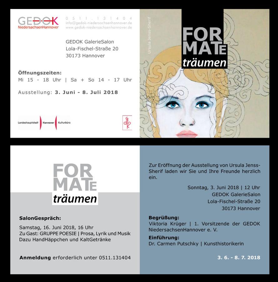"""Salongespräch und Finissage mit der Gruppe Poesie bei der Ausstellung """"Formate: träumen"""" am 16.06.2018 bei der Gedok, Hannover"""