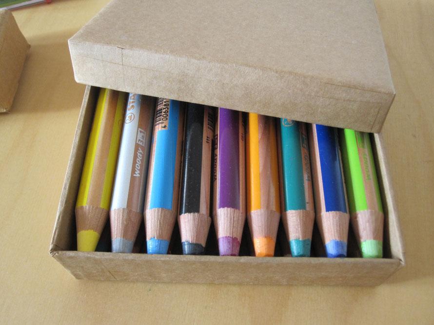 Schachtel aus Wellkarton für Woody-Stifte