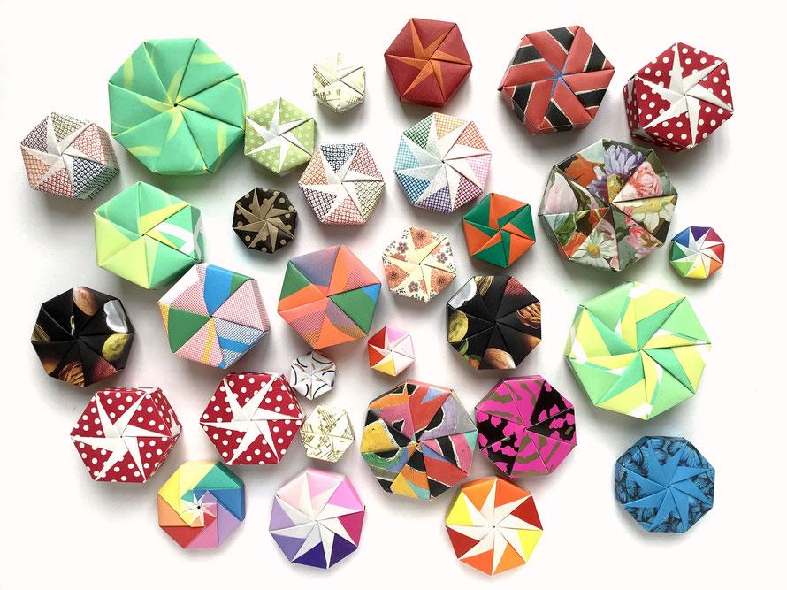 achteckige und sechseckige Origamischachteln