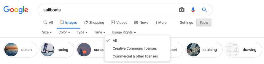 Поиск изображений с лицензиями в Google Images. Фильтр для пользователей