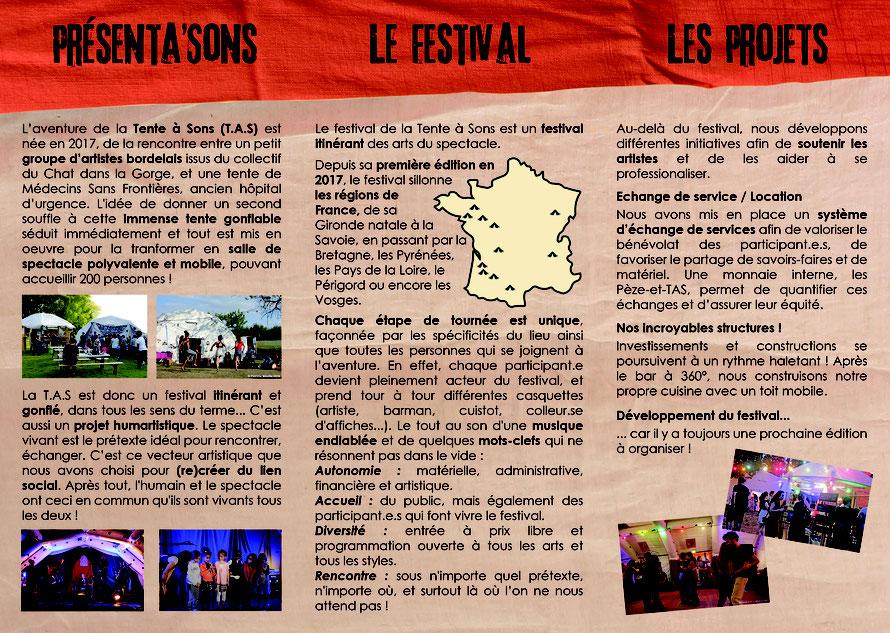 Notre dépliant présente l'évolution de l'association depuis la première édition du festival, en septembre-octobre 2017