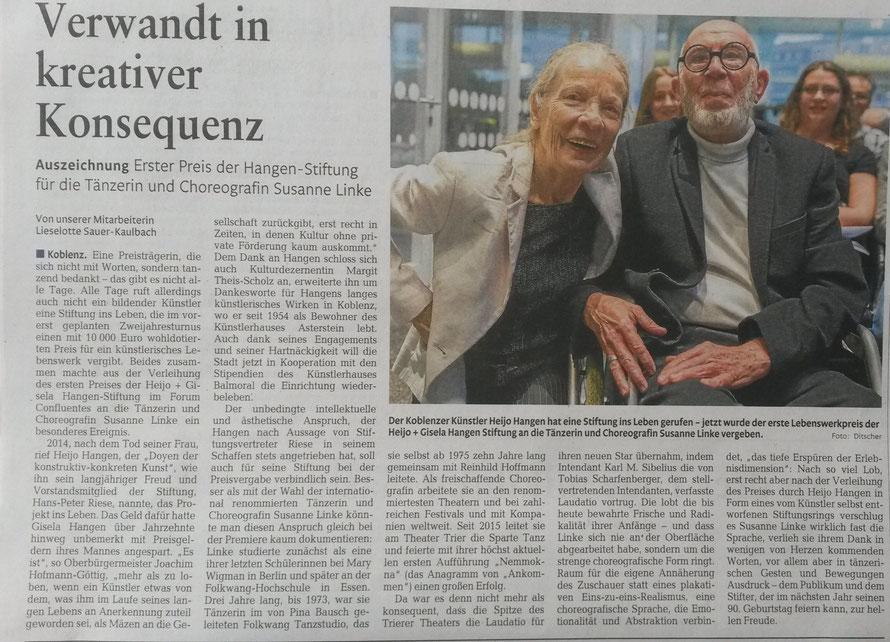 Susanne Linke Preisträgerin 2016 der heijo + gisela hangen-stiftung im forum confluentes koblenz