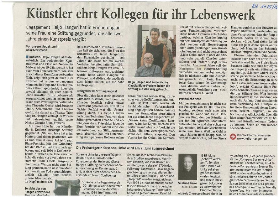 Rhein-Zeitung Koblenz Kultur vom 14. Mai 2016