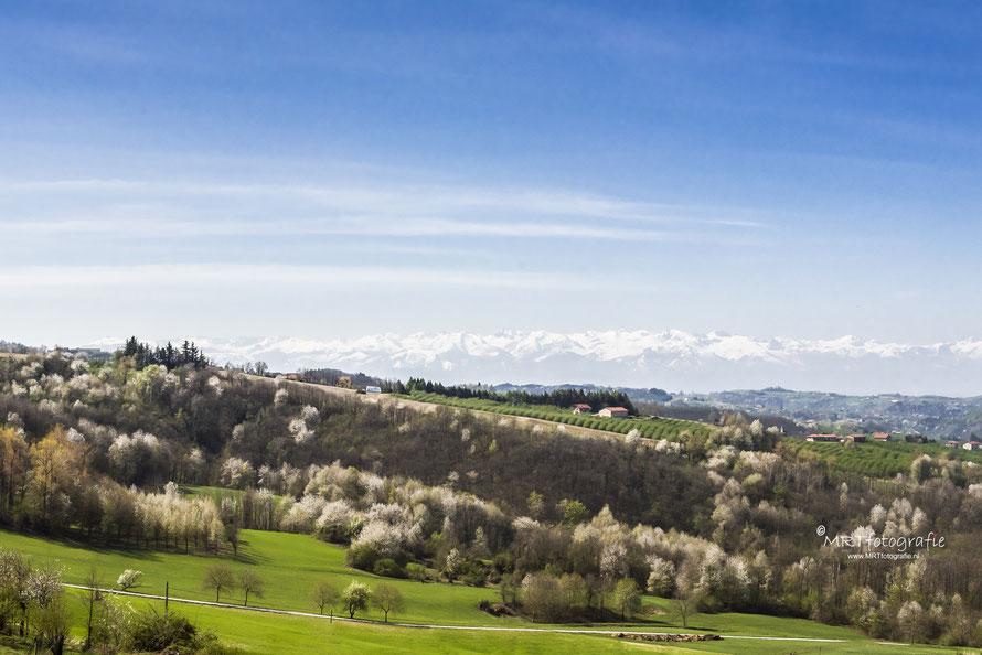 Piëmonte en sneeuwtoppen vd Alpen