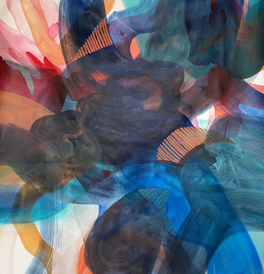 técnica mixta sobre tela, 90 x 90 cm