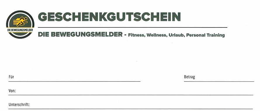 Geschenkgutschein für Fitness, Wellness, Urlaub und Personal Training von DIE BEWEGUNGSMELDER