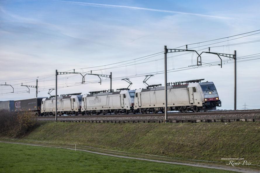 BR 186 Crossrail / Ralpin 3fach Traktion bei Rotkreuz