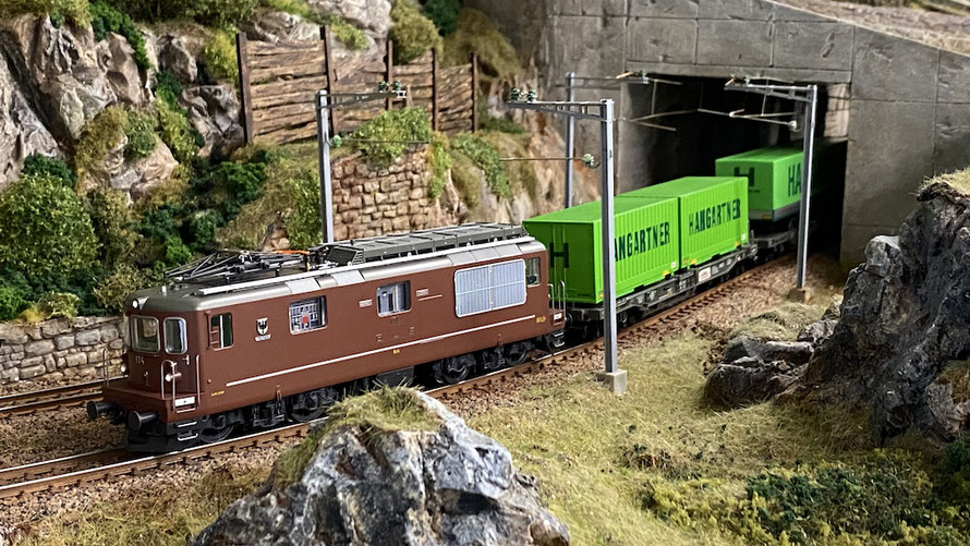 """Roco BLS Re 425 """"Frutigen"""" mit Hangartner-Wagen"""