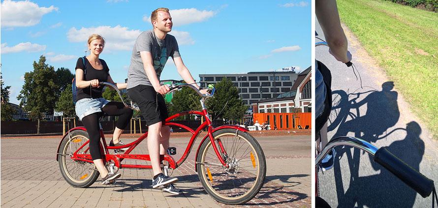 Tandem leihen Tandem fahren Cruiser Fahrrad Radtour Kurztrip Freizeit Hamburg Alltagsabenteuer Alltagsabenteurer