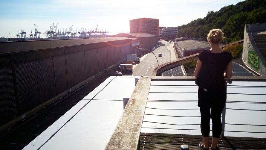 Alltagsabenteurer Alltagsabenteuer Dächer Dach sitzen über den Dächern Hamburg Hafen Kräne rooftop