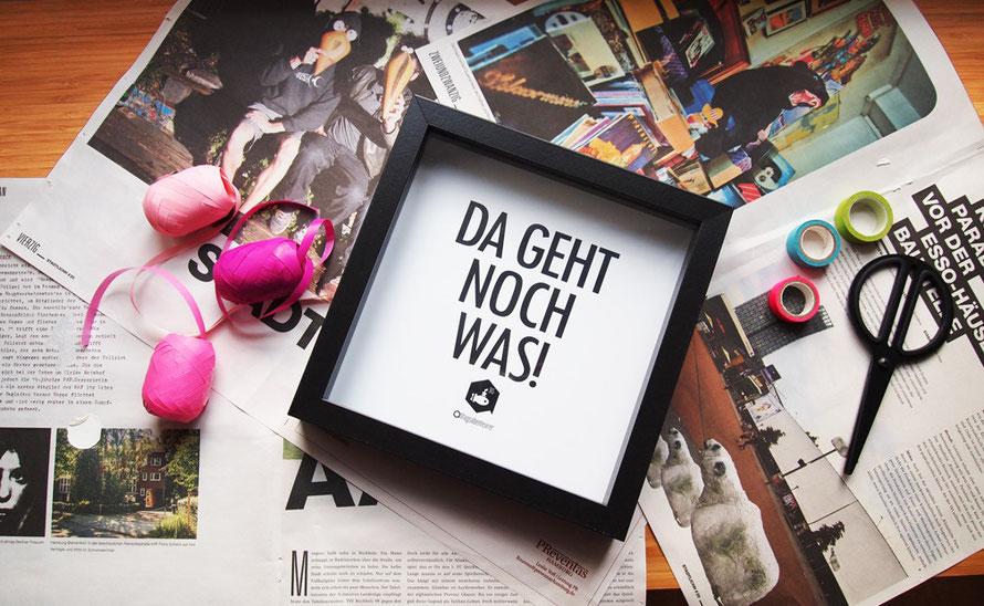 Alltagsabenteurer Alltagsabenteuer Motto-Plakat Da geht noch was Geschenk Verpackung Stadtlichh Magazin Masking Tape