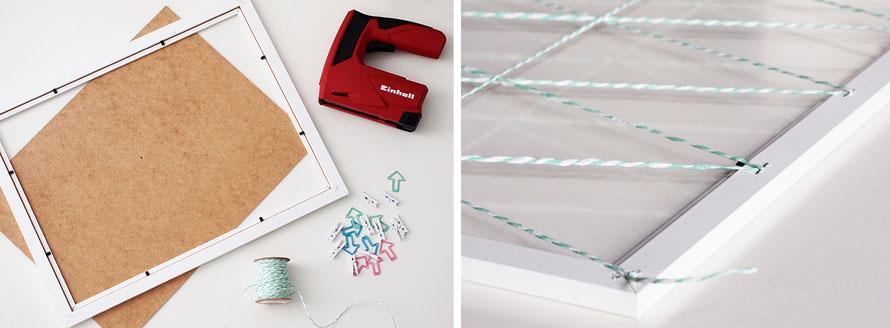 Memo-Board basteln Bilderrahmen Rahmen Upcycling DIY do it yourself Tacker Material Kordel Freizeit Freizeitblog Alltagsabenteuer Alltagsabenteurer indoor