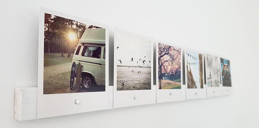 Upcycling Fotos Fotoleiste DIY Basteln mit Fotos Magnete Interior Deko Freizeit Freizeittipp Basteltipp Alltagsabenteuer Alltagsabenteurer