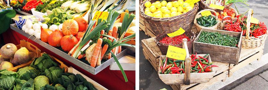 Wochenmarkt Isemarkt Hamburg Eppendorf U-Bahngleise Gemüse Peperoni Kürbis Alltagsabenteuer Alltagsabenteurer