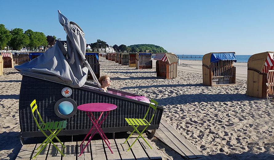 Schlafstrandkorb Ostsee Travemünde Strandkorb Übernachtung Freizeit Freizeitblog Alltagsabenteuer Alltagsabenteurer Microadventures