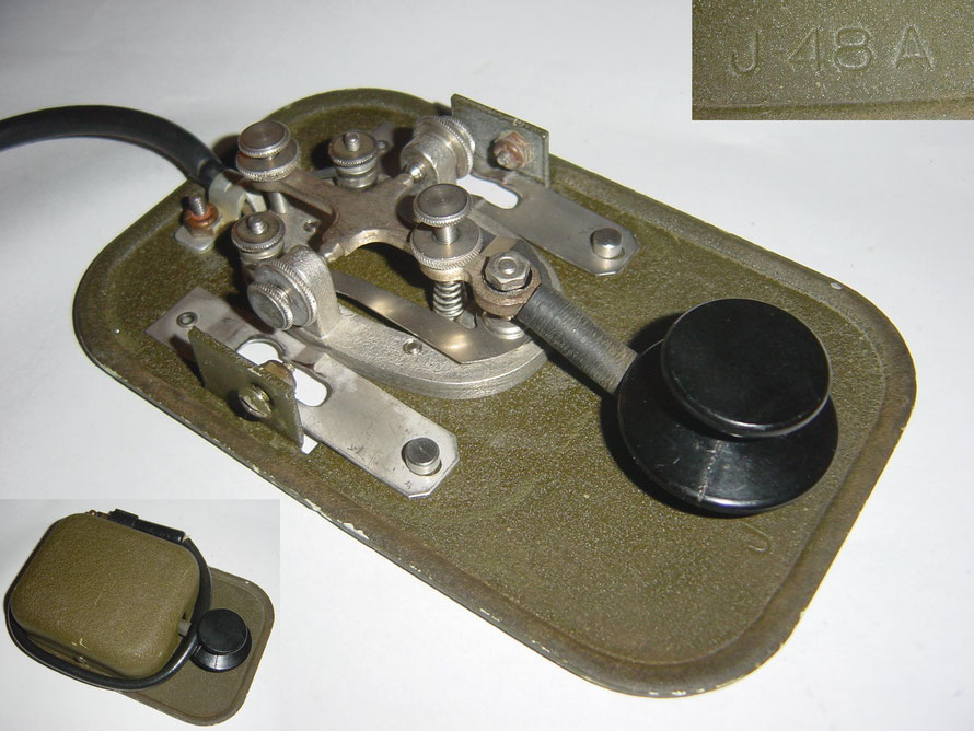 Military key model J-48 A was mounted on the flip-open front panel of the BC-654 portable and mobile radio sets. WWI