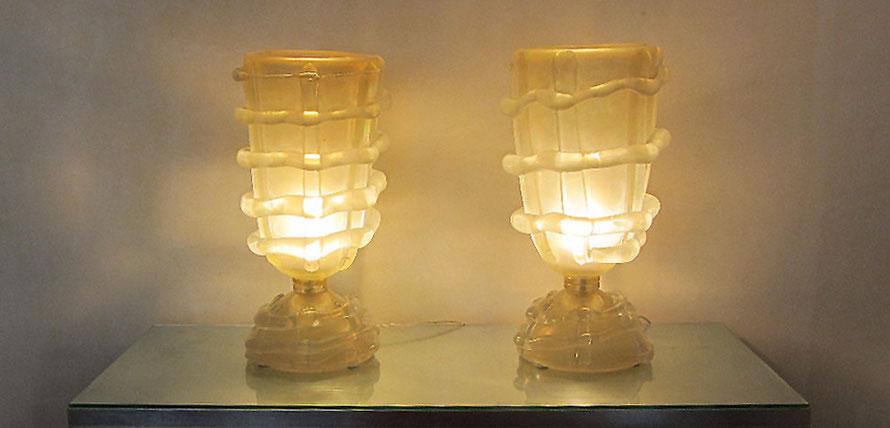 2 ANTIKE MURANO GLAS LAMPEN von ca 1960