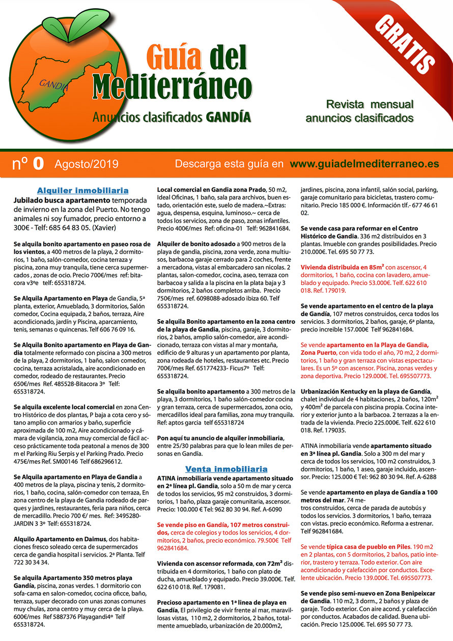 Guía del Mediterráneo, Anuncios clasificados en Gandía - Página 1