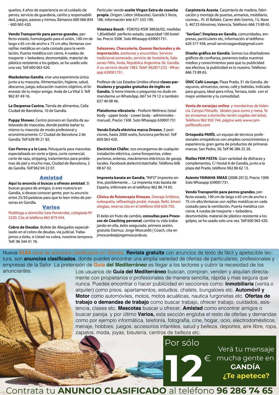 Guía del Mediterráneo, Anuncios clasificados en Gandía - Página 4