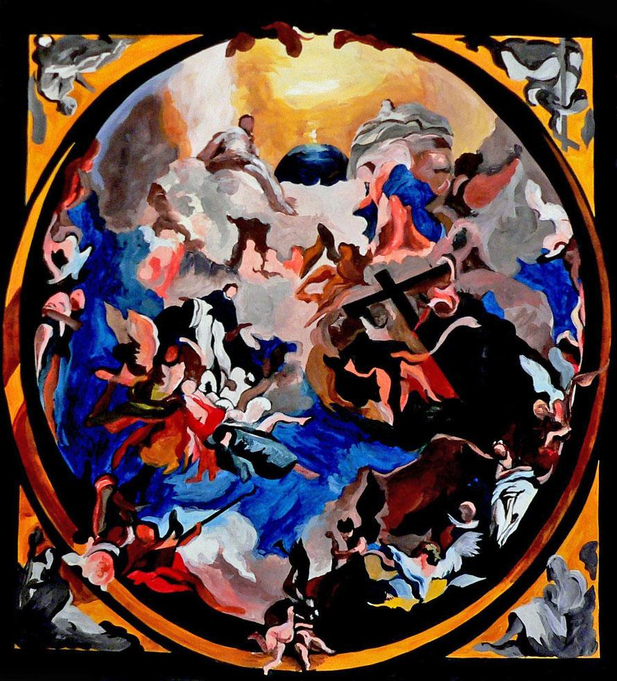 Gloire de Dominique 3 -Acrylique/papier - 70 x 70