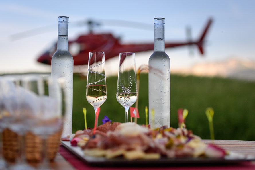 Mood picture of champagne glass and helicopter