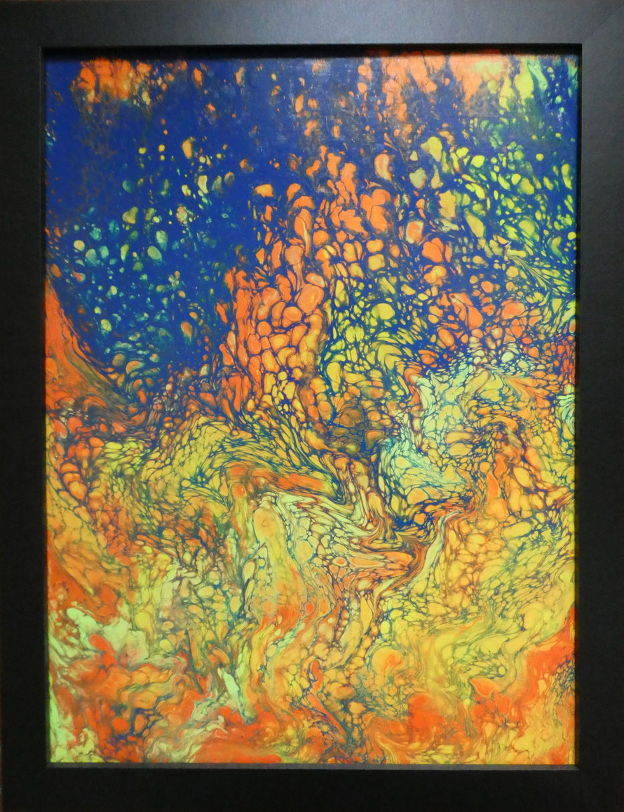 "BONFIRE NIGHT (104) | Acrylic | size incl. frame 17.75"" x 13.75"" 
