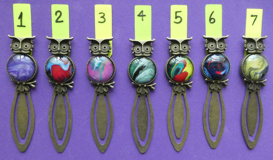 Stylish Owl Bookmarks | Antique Bronze colour metal | A range of colour artwork available | £8.00 each incl. p&p (UK only)    PLEASE NOTE  nos. 1, 4, 6 & 7 NO LONGER AVAILABLE.