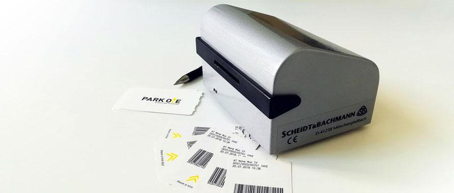 Barcodedrucker zum Rabattieren von Parktickets