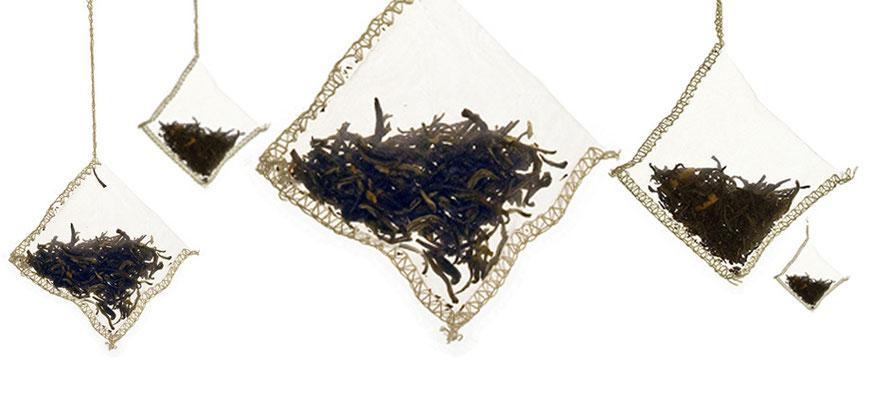 tè tea in foglie in filtro
