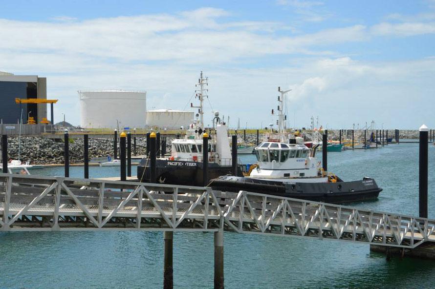 Die Schlepper für die Frachschiffe liegen ebenfalls im Yachthafen bis sie gebraucht werden.