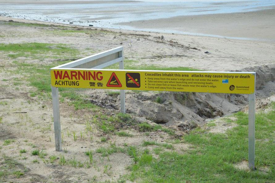 Seht mal, auch wenn sonst in Australien nichts auf Deutsch angeschrieben ist, diese Warnung dann doch