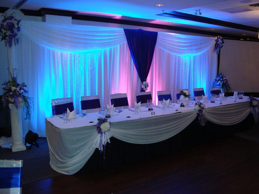 decoración cortina de tela para  mesa principal