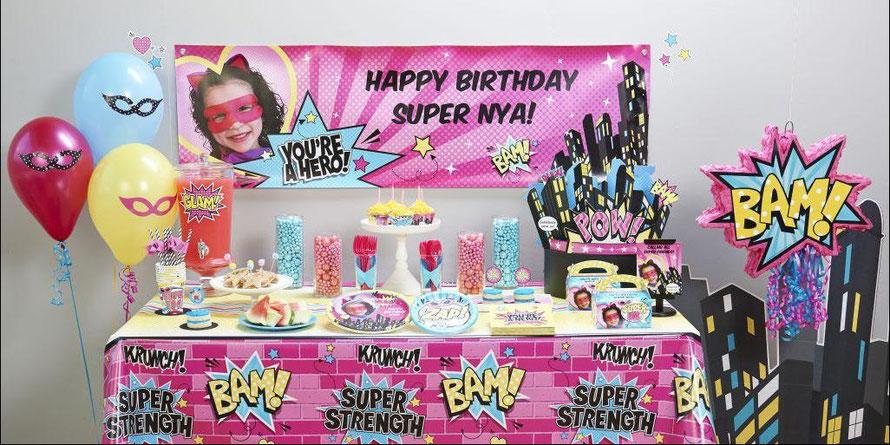 decoración fiesta temática super heroes niñas