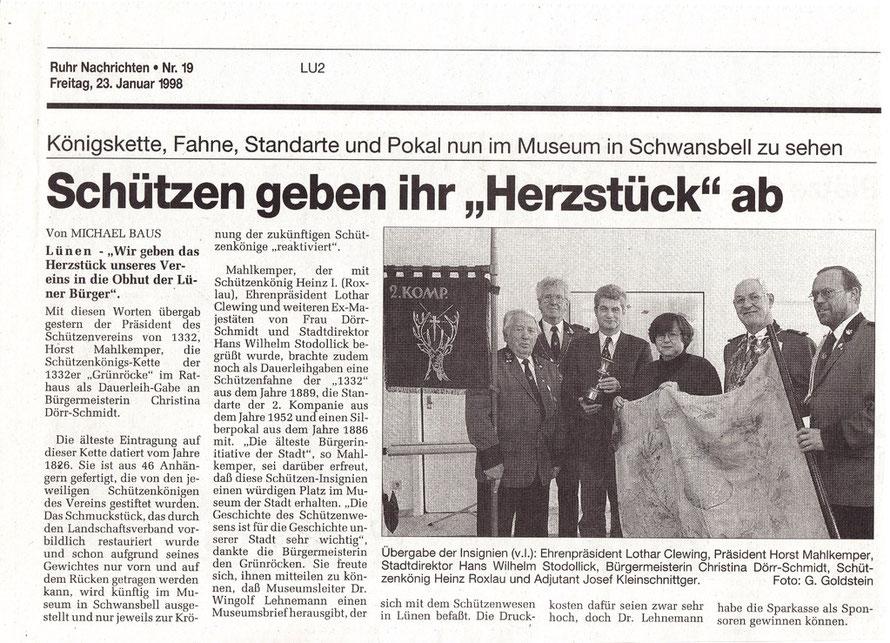 """Zeitung Januar 1998, Ruhr Nachrichten, zum vergrößern """"anklicken"""""""