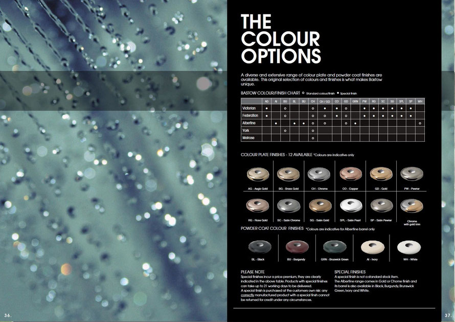 Bastow comprehensive list of colour finishes