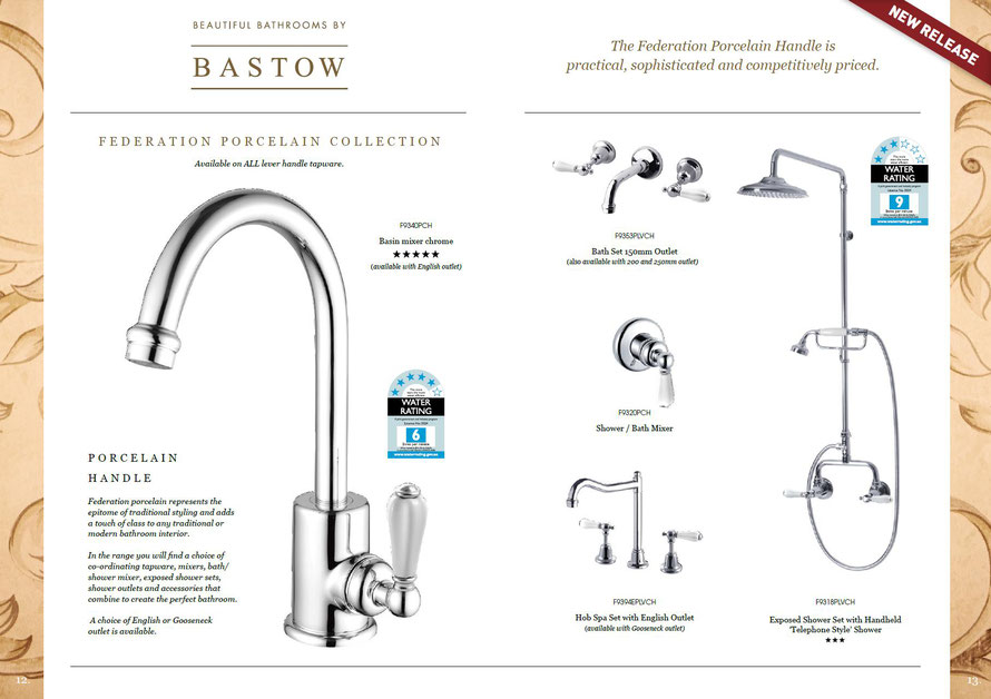 Bastow Federation porcelain represents the epitome of traditional styling & adds a touch of class to any traditional or modern bathroom interior. Choice of co-ordinating tapware, mixers, bath/shower mixer, exposed shower sets, shower outlets & accessories