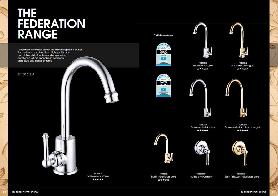 Bastow Federation mixer taps are the discerning house owner. Each mixer is machined from high quality brass and deliver style, function and engineering excellence. All are available in traditional brass gold and classic chrome.